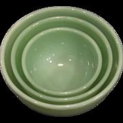 Fire King 1940 Jadeite Beaded Nesting Bowls-RARE