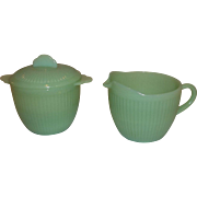 Fire King Jadeite Jane Ray Creamer & Sugar