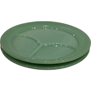 Fire King Jadeite Restaurant Ware 1940's Grill Plate Set Of Two