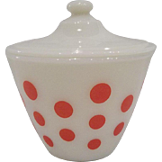 Fire King Red Polka Dot Grease Jar with Lid