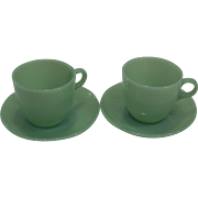 Fire King Jadeite St. Denis Coffee – set 2
