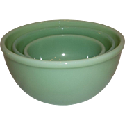 20% OFF SALE!  Fire King 1950 Jadeite Beaded Nesting Bowls-RARE