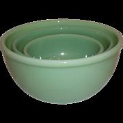 20% OFF SALE!  Fire King 1950 Jadeite Beaded Nesting Bowls-RARE