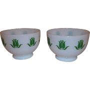 RARE - Fire King Green Tulip Cottage Cheese Bowls Set of Two