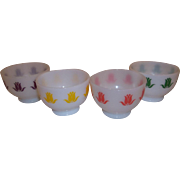 20% OFF SALE! RARE - Fire King Set of 4 Tulip Cottage Cheese Bowls
