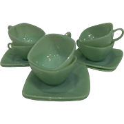 Fire King Jadeite Charm Cup & Saucer Sets, 6 available