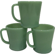 Fire King Jadeite D Handle Shaving Mug - Flat Bottom 3 available
