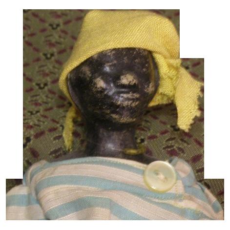 Primitive Wax head black doll