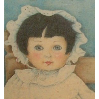 Vintage doll print on wood