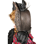 Beautiful antique dolls straw hat.