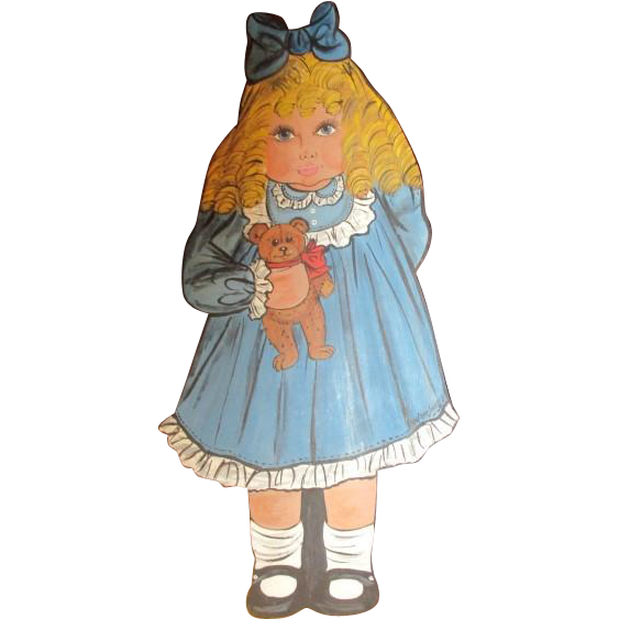 Doll & her Teddy wonderful painting on wood- OOAK