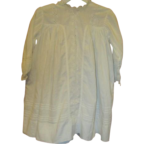 Antique large dress with eyelet insert
