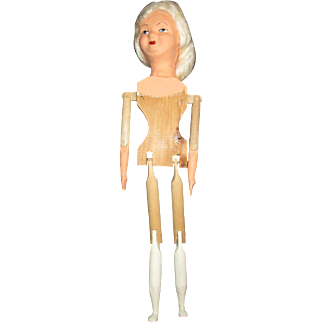 Mrs Santa with wooden jointed body and sculpted head