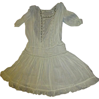 Dress with inlaid lace and pintucking  large doll dress
