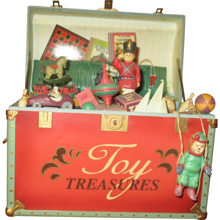 Wonderful music box with dolls and toys