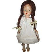 Sweet composition doll with mohair  pigtails
