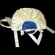 Large Hat blue velvet and white gathered satin