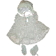 Sweet crochet  doll dress bonnet and booties