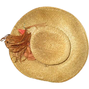 Adorable antique straw doll hat
