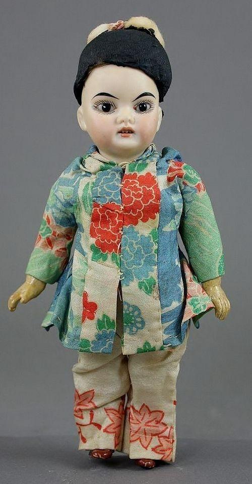 "8"" Oriental Bisque Socket Head Child Simon & Halbig"