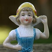Porcelain Child Half-doll, German in Dutch costume