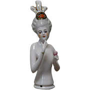 German Porcelain Half-doll Elaborate Decoration