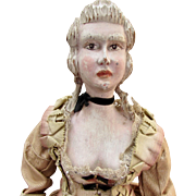 "16"" Carved Wooden Lady in Antique Gown"
