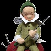 R. John Wright Periwinkle Felt Fairy Figure