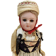 "5"" German Bisque Girl in Original Ethnic Costume"