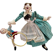 Vintage Roldan Doll set - Nanny and Little Boy with Hoop