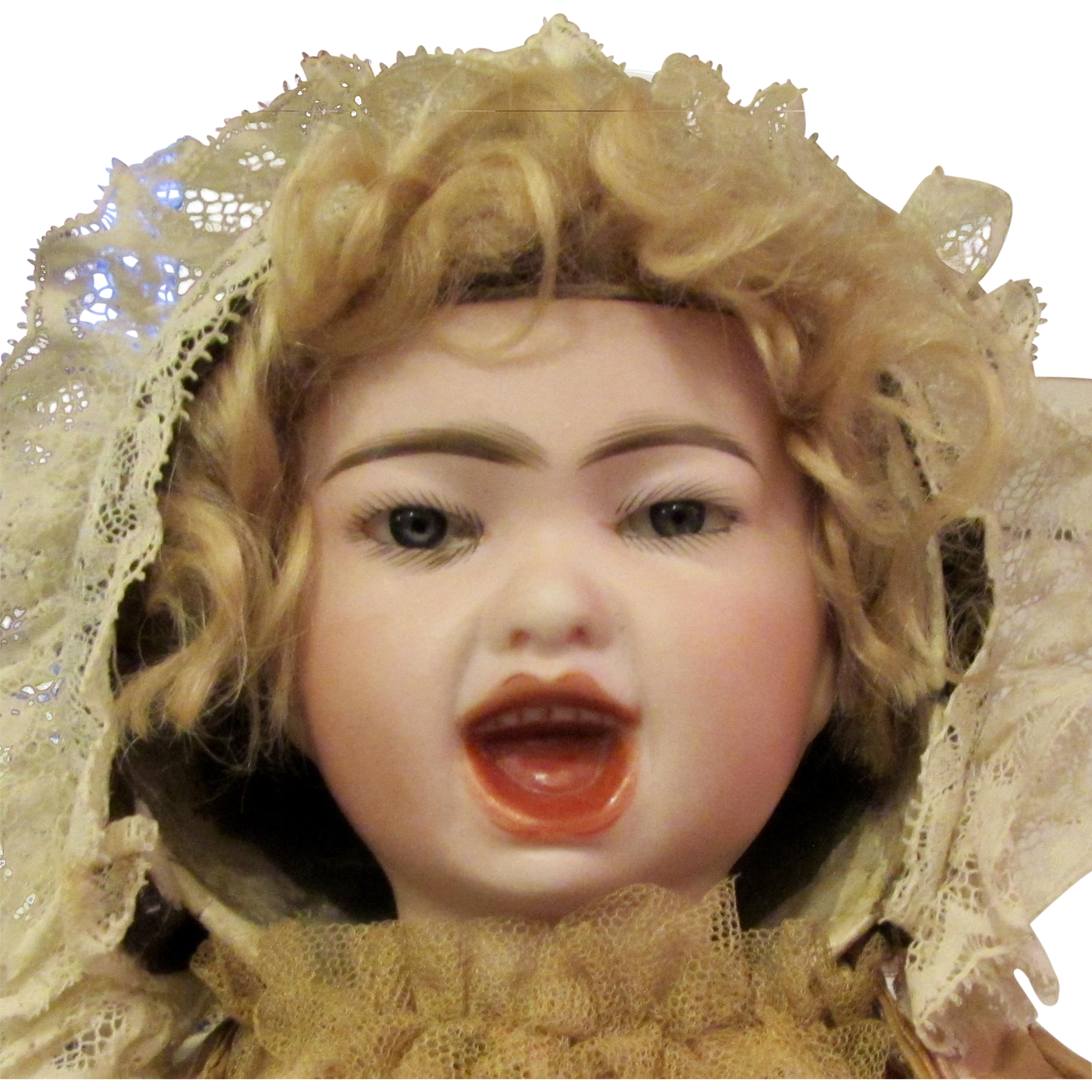 """18"""" Rare French bisque double-faced bebe by Emile Jumeau from """"Series Fantastique""""."""