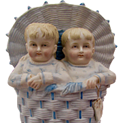 "7 1/2"" German bisque vase CHildren in a Basket, Heubach type"