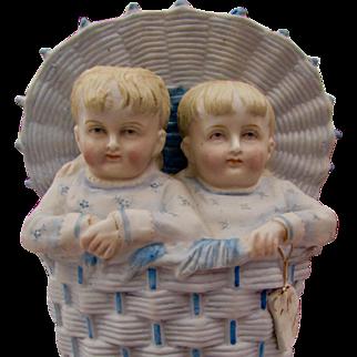 """7 1/2"""" German bisque vase CHildren in a Basket, Heubach type"""