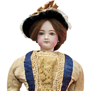 "18"" Early French Bisque Poupee by Jumeau."