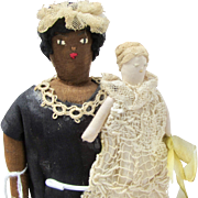 "10"" Vintage Cloth Pair - Black Nanny & Baby"