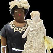 "10"" Vintage Cloth Pair - Black Nanny & Baby"