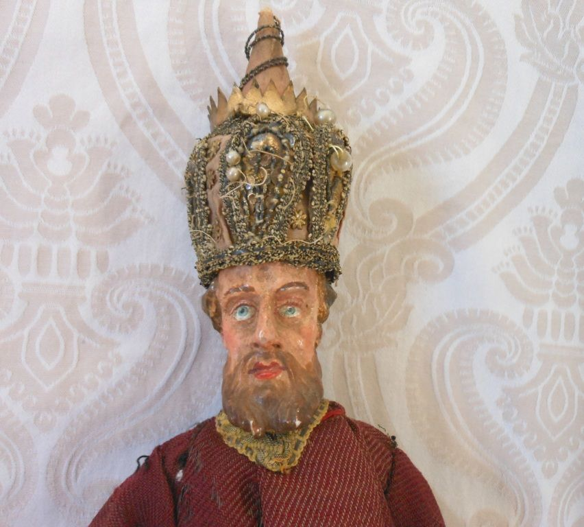 Early Wood and Papier Mache Italian Crèche Figure Gentleman