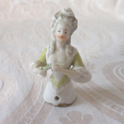 Tiny German Glazed Porcelain China Half Doll Holding a Fan