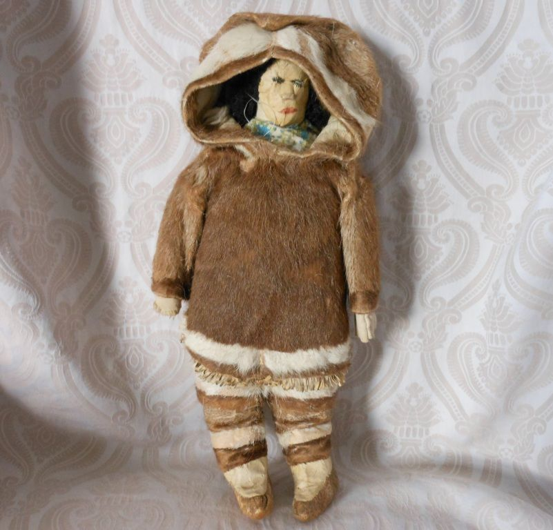 Wonderful Native American Inuit Doll Cloth Doll Dressed in Fur Costume