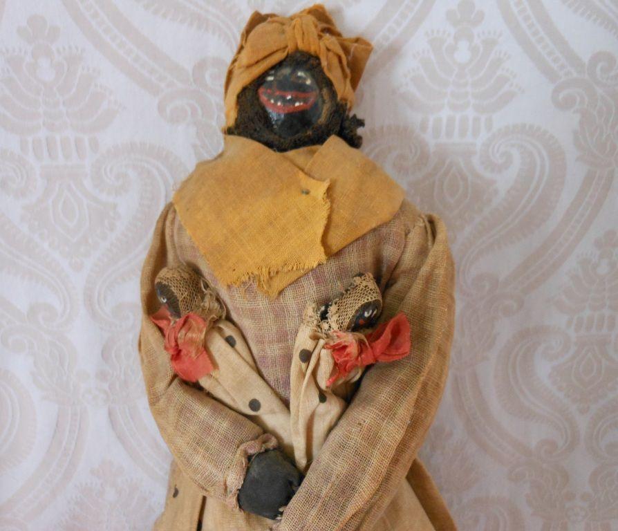All Original Folk Art Cloth Nut Head Doll with Babies