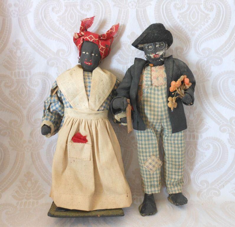 Vintage Black Cloth Doll Couple