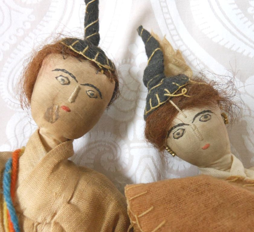 Vintage Cloth Doll Pair in Ethnic Costumes