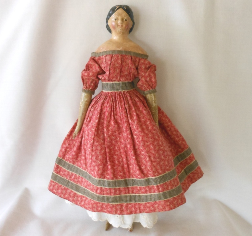 German Papier Mache Milliner's Model with Covered Wagon Hairstyle