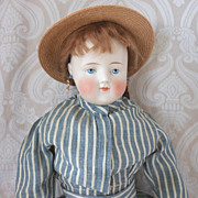 German Bisque Head Lady Doll with Solid Dome Head