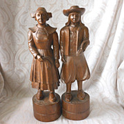 Black Forest Wooden Figurine Pair