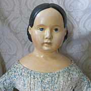 Great Large Early German Papier Mache Doll