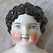 Large German Glazed Porcelain China Head Dolly Madison Doll by ABG