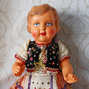 German Celluloid Child Doll in Original Ethnic Costume