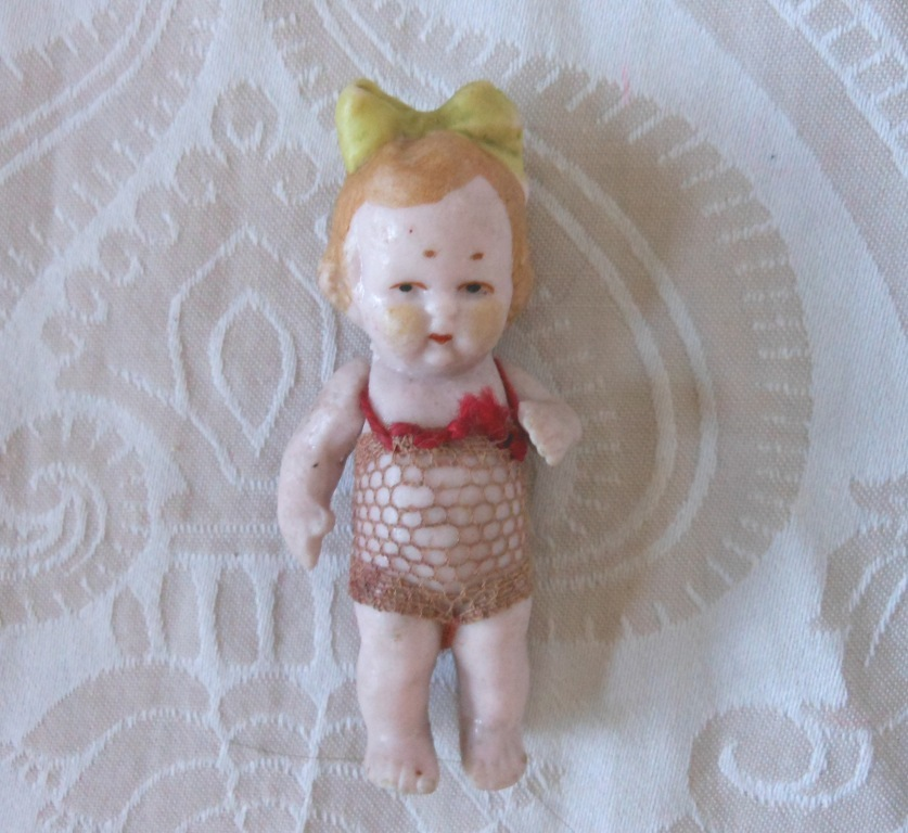 Tiny German All Bisque Toddler Doll in Original Netting Bathing Costume