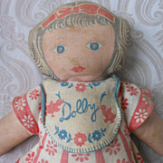 "Vintage Cloth Cut and Sew Doll ""Dolly"""